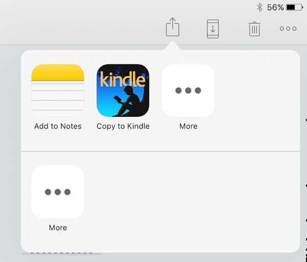 open in kindle app, from dropbox
