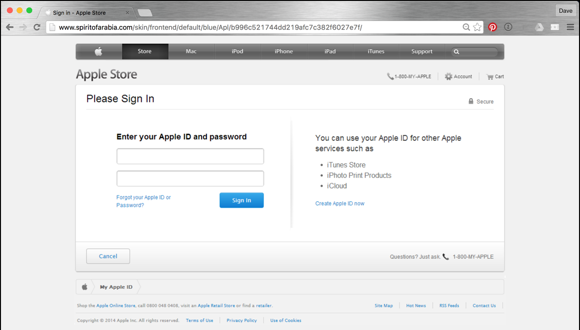 enter your apple id - fake phishing page