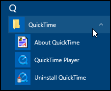quicktime player in the windows 10 start menu