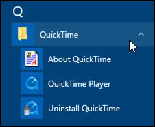 quicktime player in the windows 10 start menu