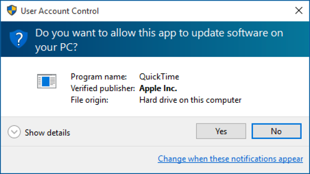 allow apple to uninstall quicktime windows win10