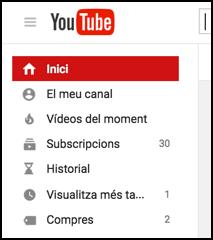 youtube menu in catala catalan