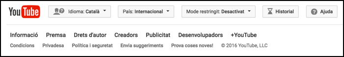 youtube footer in catala catalan