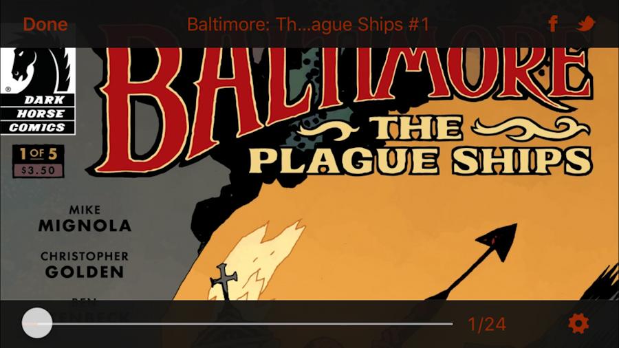 dark horse digital comics - baltimore the plague ships - apple iphone ios 9