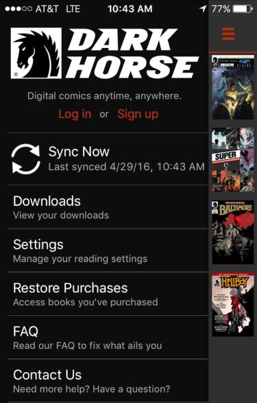 settings menu, dark horse comics digital iphone ios