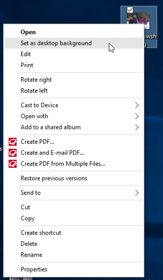 context menu, win10, set desktop picture photo wallpaper