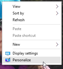 windows 10 desktop menu - personalize
