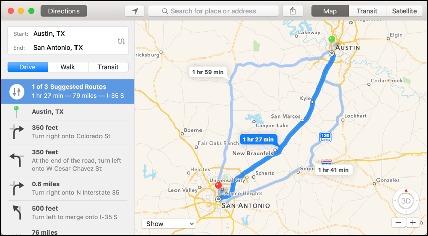Distance Houston > San-Antonio - Air line, driving route ...