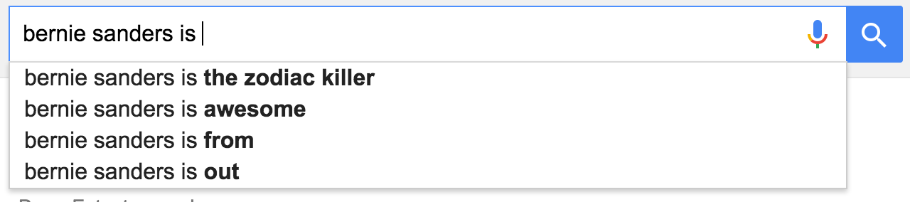 google suggestions bernie sanders