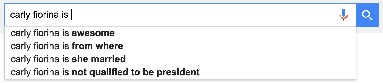 google suggest carly fiorina is
