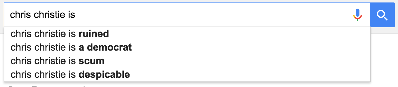 chris christie is google suggest