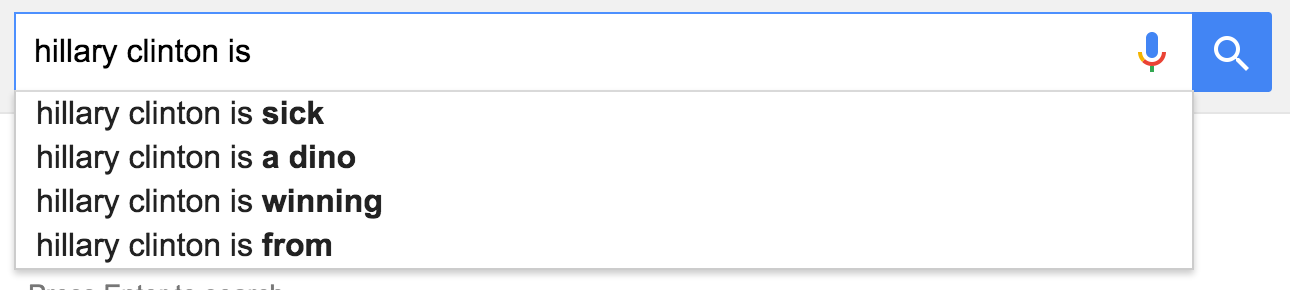 google suggestions hillary clinton