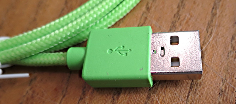 newertech lightning cable close-up green