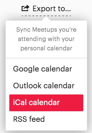 export meetup.com calendar to... google calendar, outlook calendar, ical calendar
