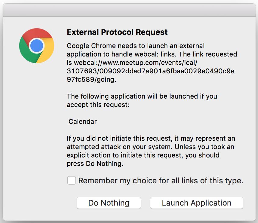 subscribe meetup google calendar ical external protocol request warning google chrome