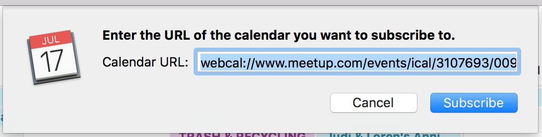 meetup.com calendar being imported into ical apple calendar