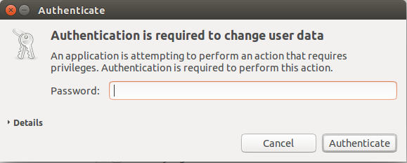 validate user to change admin settings, ubuntu linux