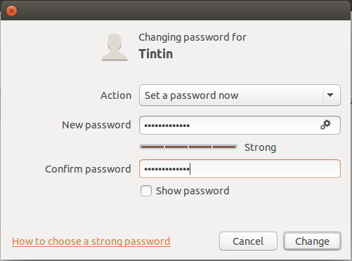 strong password specified, add user