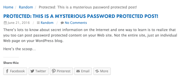 password protected blog post wordpress