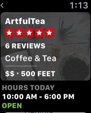 artful tea, santa fe, yelp, apple watch