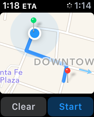 apple maps, start and destination highlighted, yelp apple watch iwatch