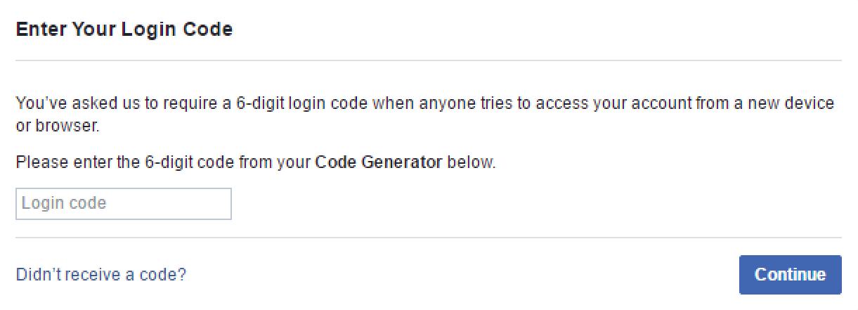 facebook prompting for code generator login