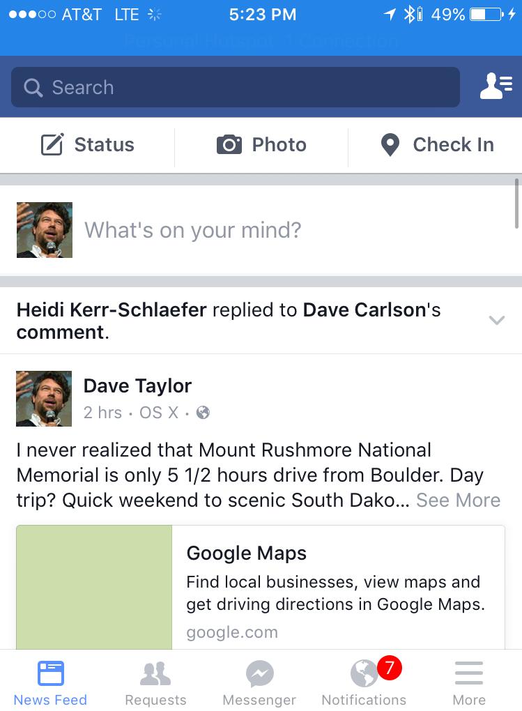 facebook main screen iphone ios
