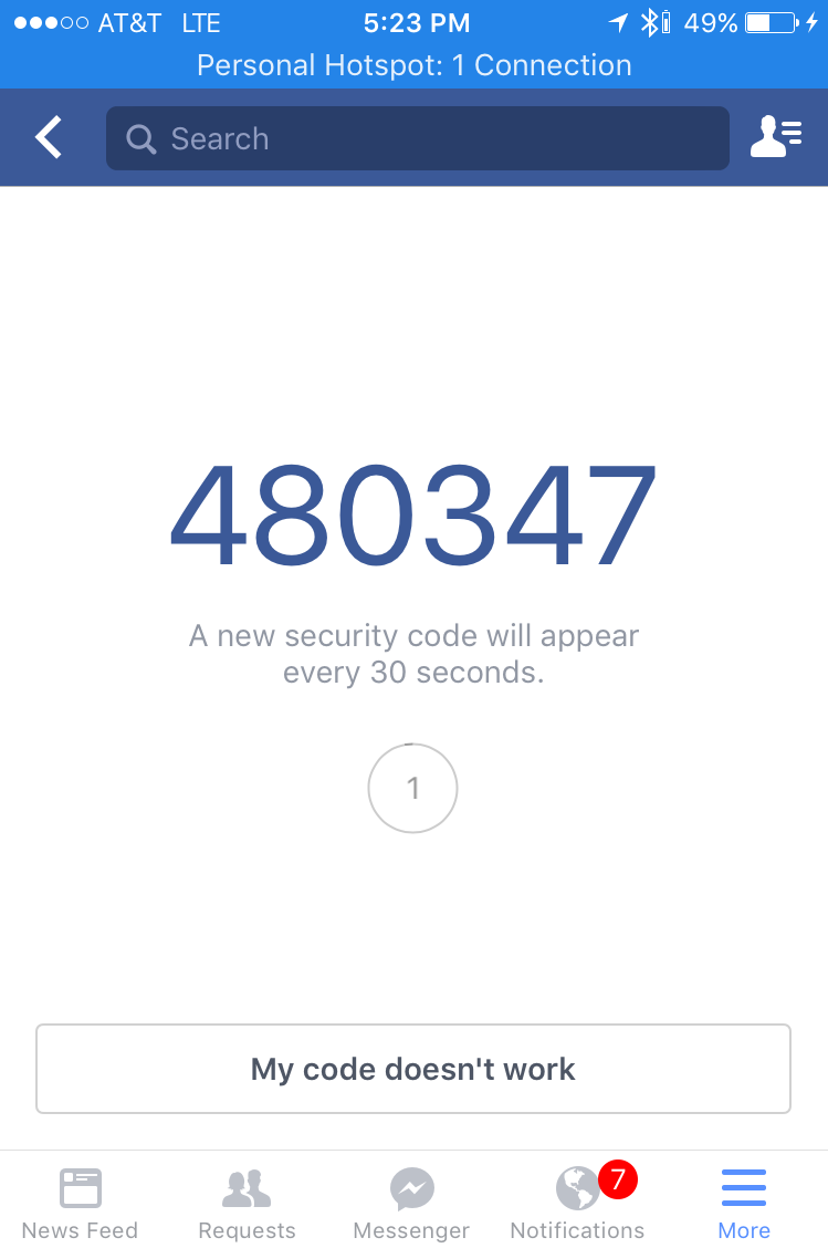 facebook code generator temporary code, apple iphone ios app
