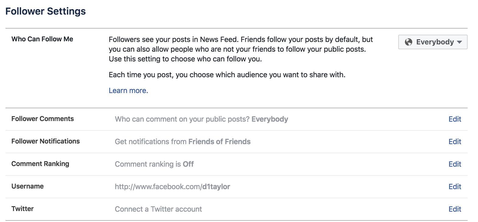 facebook followers settings details