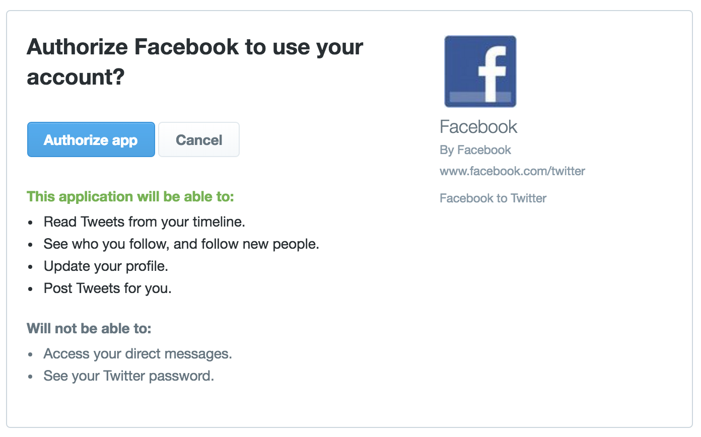 let facebook have access to your twitter account?