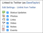 connect facebook to twitter status update tweet automatic