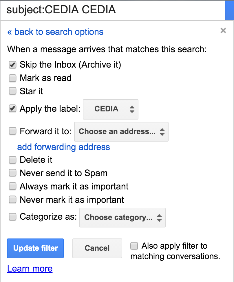 gmail email filter action actions
