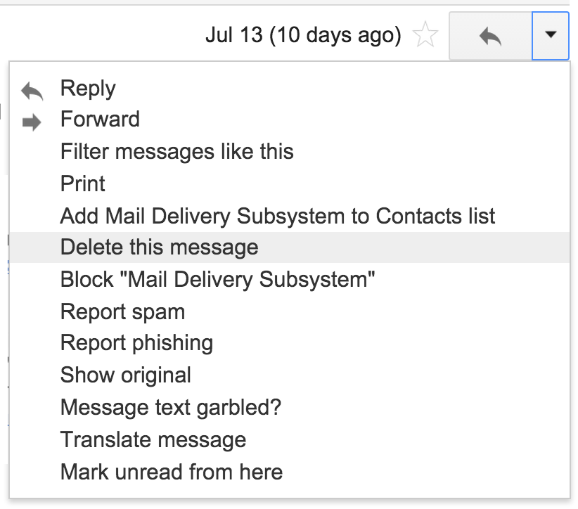 individual message menu, google gmail service, email