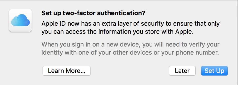 are you sure you want to set up 2-factor two-step authentication icloud mac