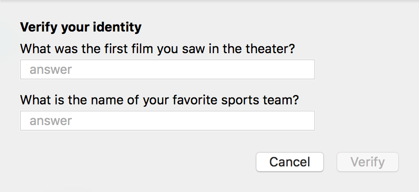 verify your security questions icloud