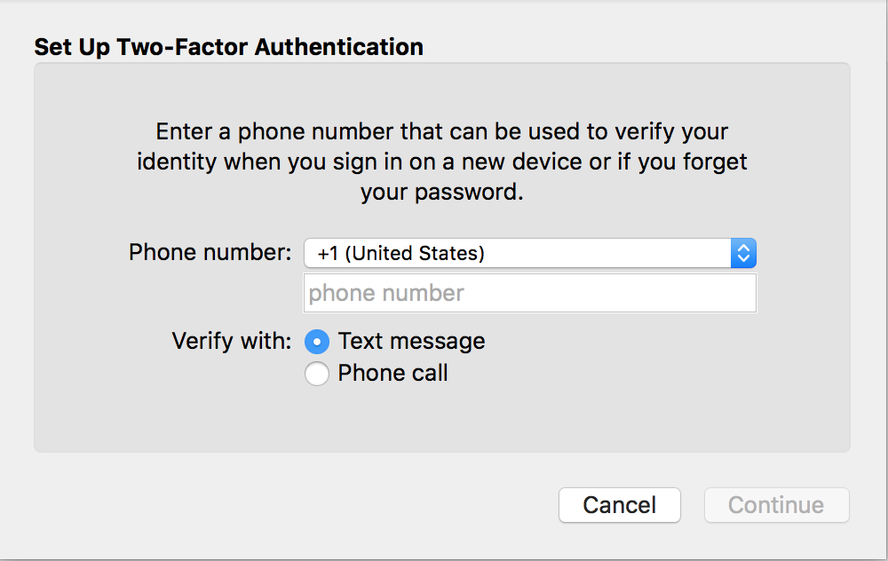 enter phone number for icloud two-factor 2-step authentication