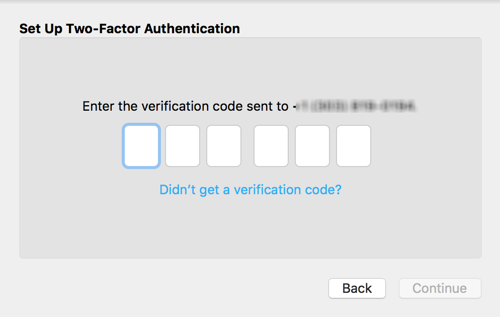 enter secret security code, icloud two-factor authentication setup set up