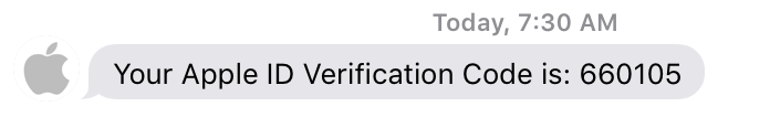 apple id secret two-factor authentication code sent to iphone