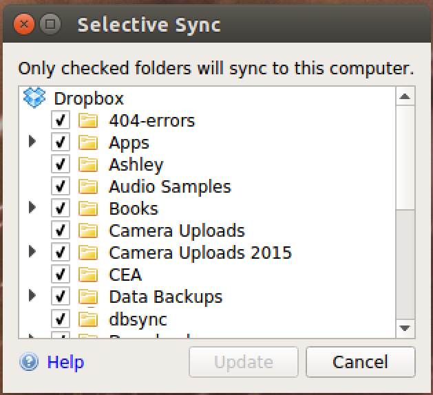 ubuntu linux dropbox choose what to sync folders