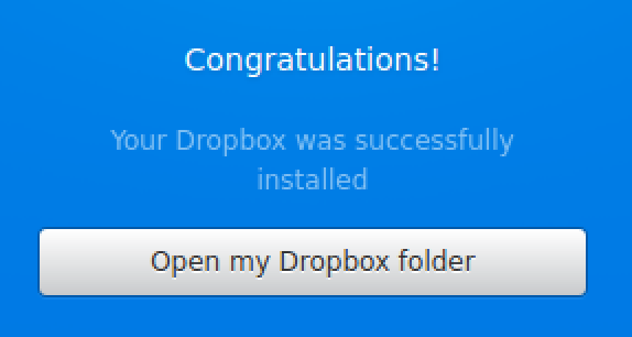 fully logged in to dropbox