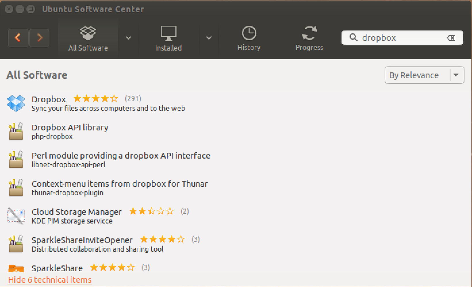 search for dropbox in ubuntu software center