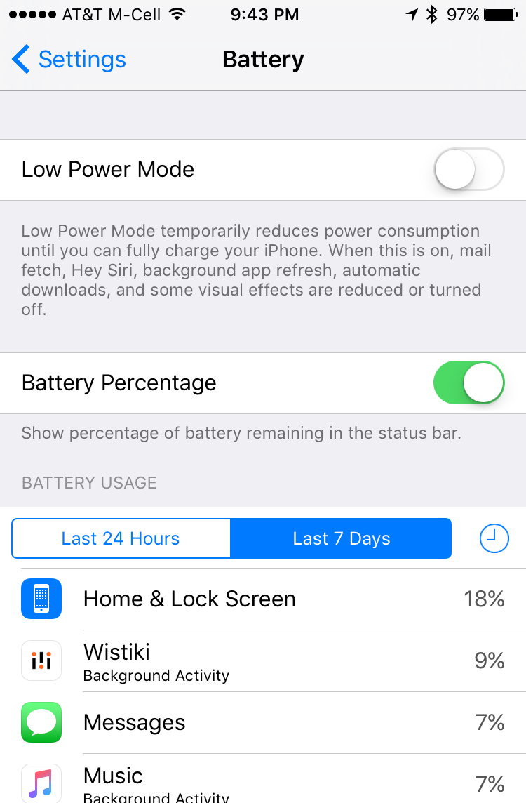 iphone ios app battery usage last 7 days