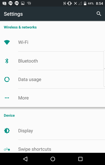 android m marshmallow settings main screen
