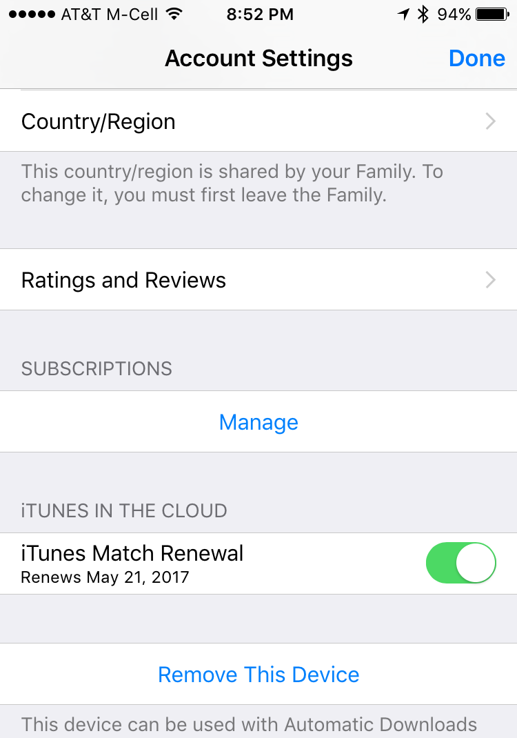 iTunes Apple ID Account Settings