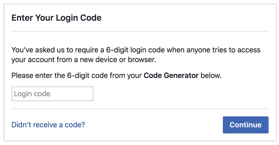 login log in to facebook, need code generator