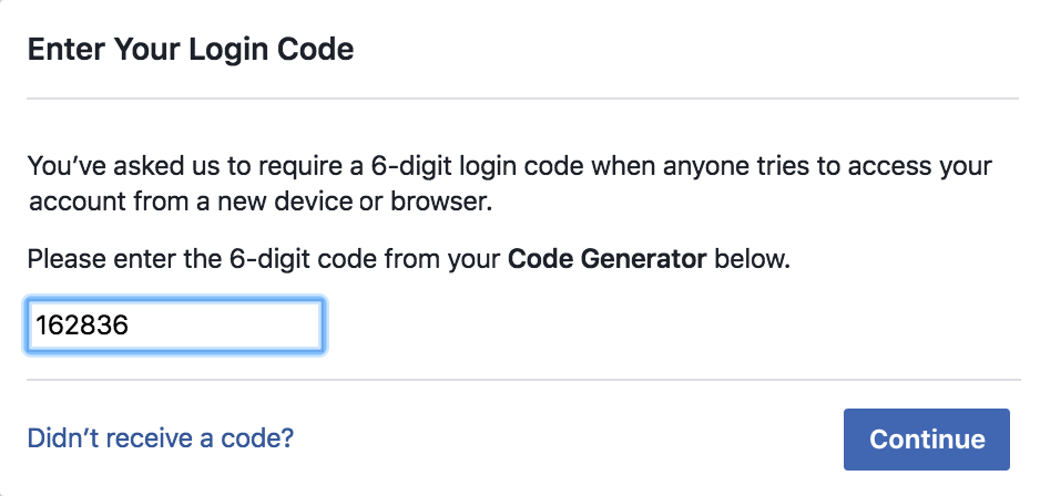 enter facebook security code login