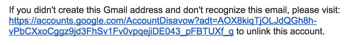 gmail google mail disavow address link