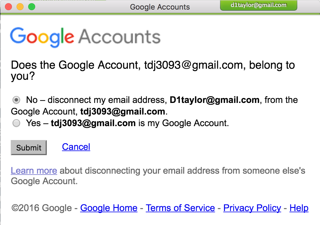 are you sure disconnect email address google gmail
