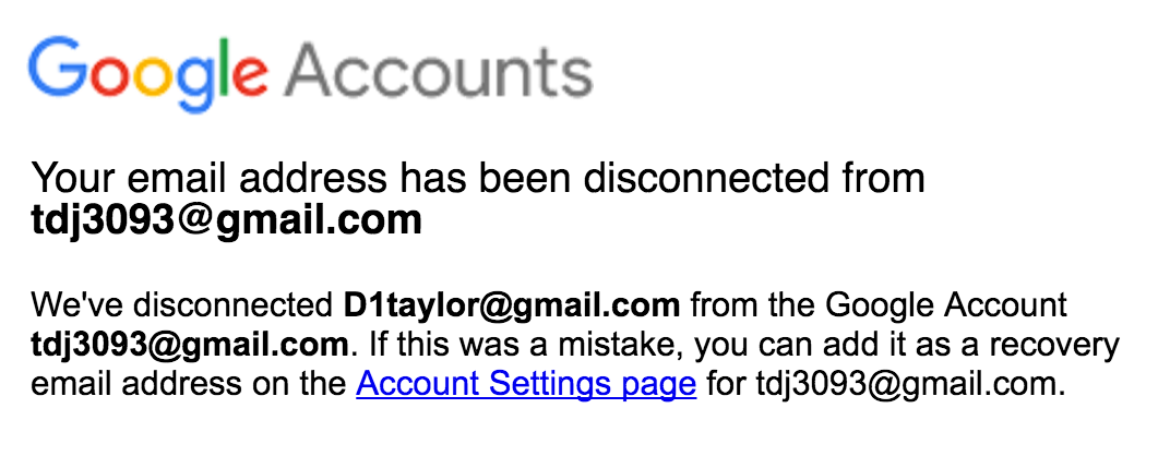 gmail google mail account disconnected
