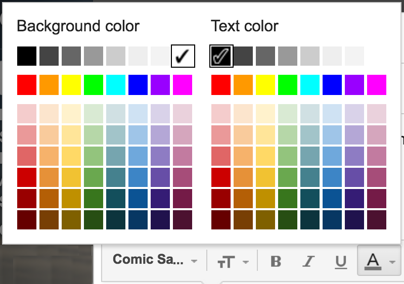 text and highlight background color choices palette gmail google mail email composition